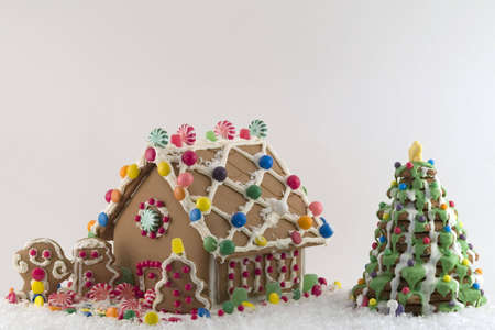 Gingerbread House on snow Imagens