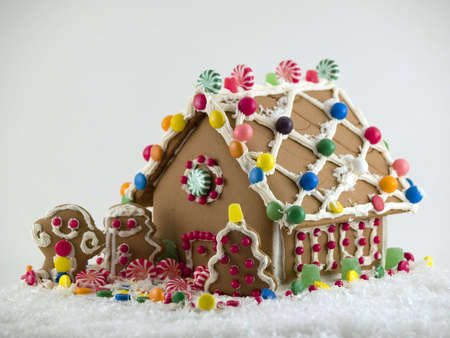 gingerbread: Gingerbread House on snow Stock Photo