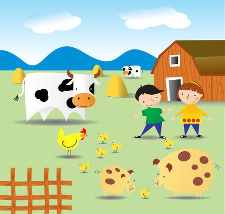 Summer on a farm Illustration