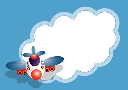航空ショー: 飛行機メッセージ カード  イラスト・ベクター素材