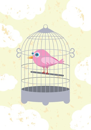 bird in a cage Stock Vector - 9867978