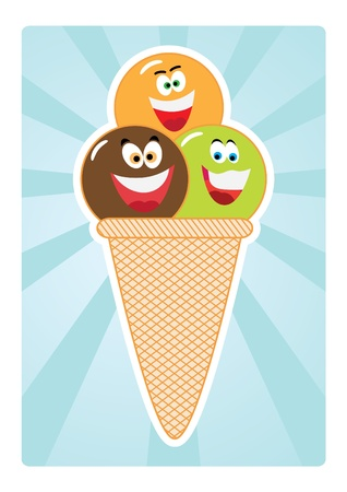Coloured Ice-cream Cones  Vector