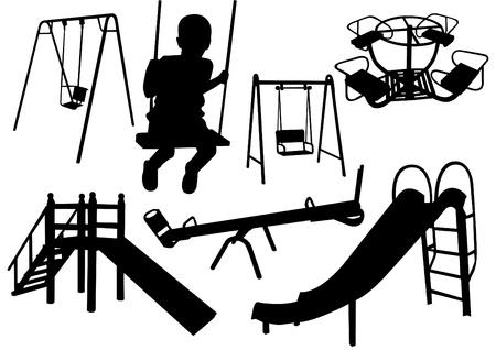 silueta de juegos infantiles de niños
