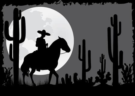 cactus desert: Ruiter ritten in de woestijn Stock Illustratie