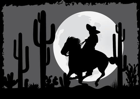 mexico cactus: Horseman rides in the desert