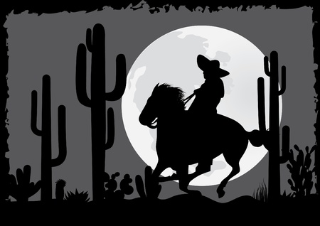 charro: Jinete cabalga en el desierto