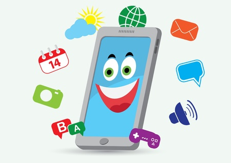 mobile device: phone smiling Illustration