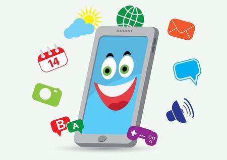 telefono caricatura: tel�fono sonriendo