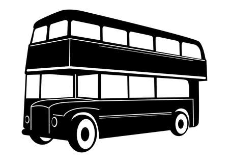 old bus: London double Decker red bus Illustration