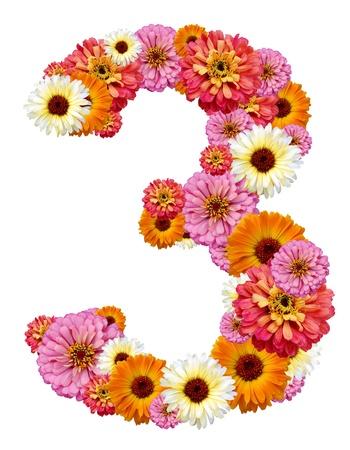 trois: trois num�ral, arabe  Banque d'images
