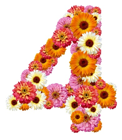 arabic numeral: arabic numeral , four  Stock Photo