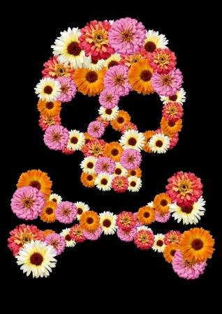 grunge skull: Skull flower