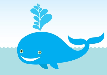 Big cartoon whale Vector