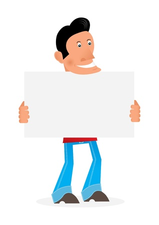 man with a placard v8 Stock Vector - 10399269