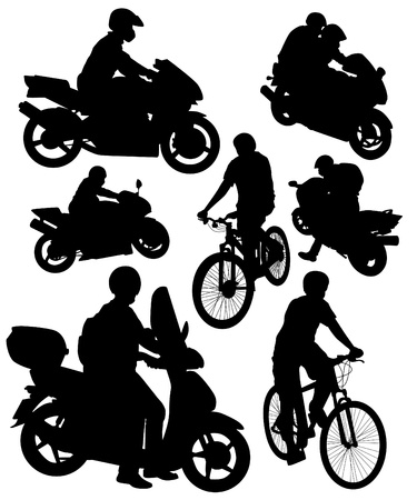 silhouettes of motorcycles and bikes Stock Illustratie