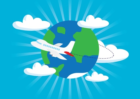 airliner with a globe  Stock Vector - 10433844