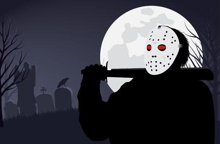 machete: Killer in a mask on Halloween