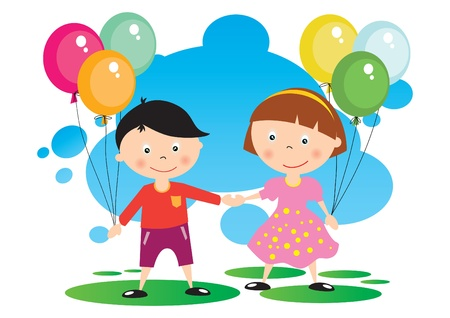 Children With A Balloon Illustration