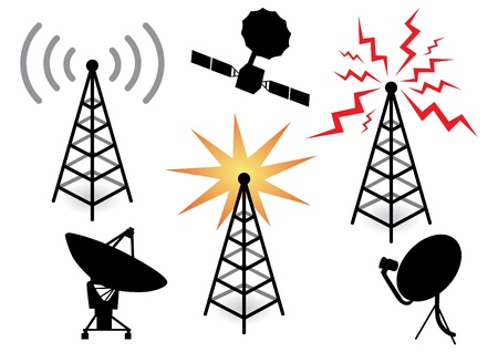 telecom: illustration with a set of radio devices Illustration