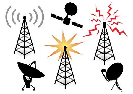 telecomunicaci�n: ilustraci�n con un conjunto de dispositivos de radio