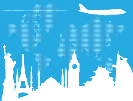 symbol tourism: Traveling around the world Illustration