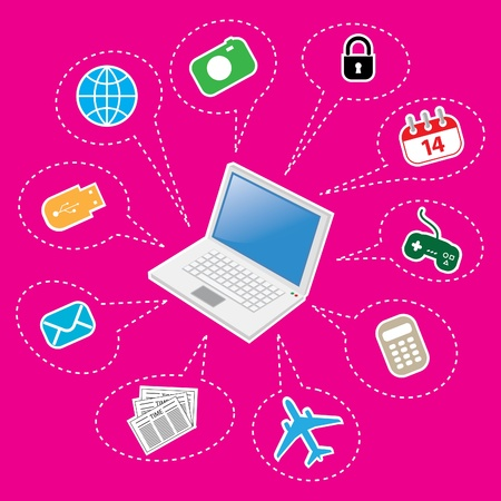 Laptop and Set of Computer and Electronics Icon  Illustration