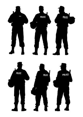 Police Barrier Defense Illustration
