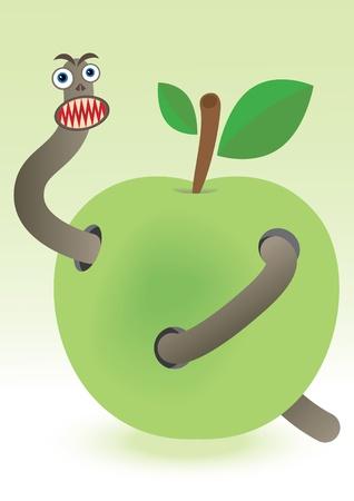 worm in apple Vector