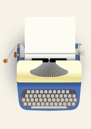 type writer: typewriter with a paper  Illustration