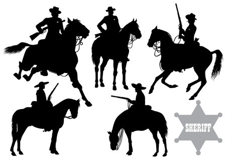cowboy on horse: cowboy, sheriff, rider in a sombrero  Illustration