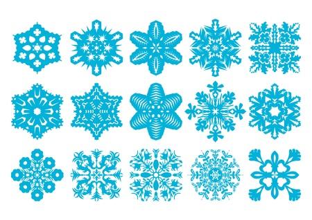 15 Snowflakes Set  Vector