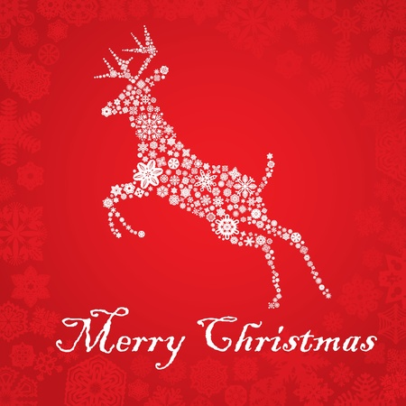 snowflake deer Christmas card Vector