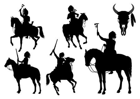 native indian: Siluetas de los indios americanos a caballo