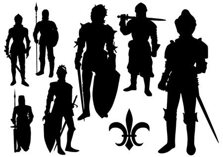 ナイト: 中世の騎士のシルエット  イラスト・ベクター素材