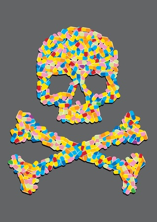 skull made of a capsule pill Stock Vector - 11455050