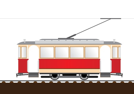 streetcar: retro tram  Illustration