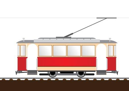 tramway: tram retr� Vettoriali