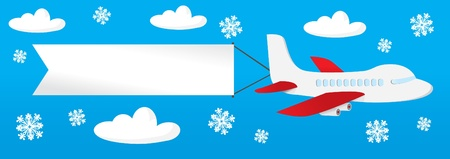 funny travel: airplane with banners in the sky Illustration