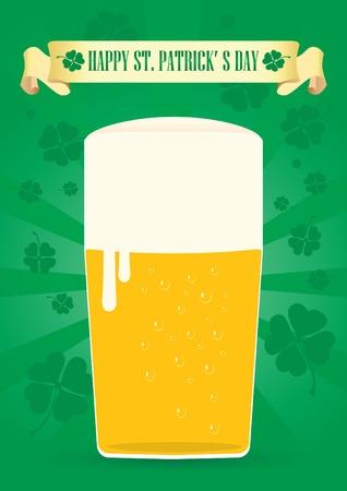 glass of fine beer for St. Patrick Illustration
