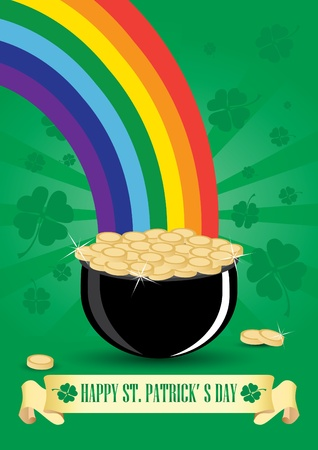 Green cauldron icon with gold coins and rainbow Vector