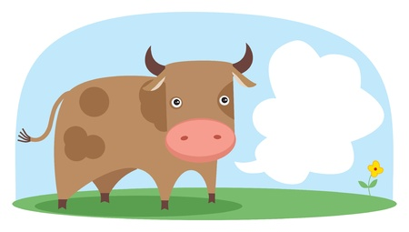 cow in the field.  Vector
