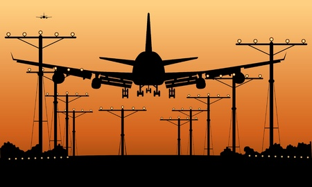 airliner landing at sunset  Stock Vector - 11987302