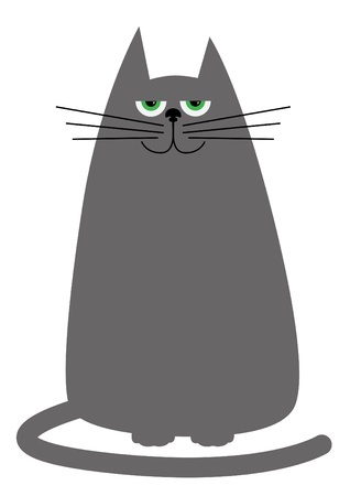 grey cat: funny cartoon cat