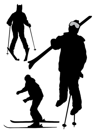 skiers: Illustration of skiers silhouettes - vector