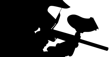 Paintball player in silhouette Stock Illustratie