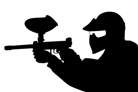 Paintball player in silhouette Vector