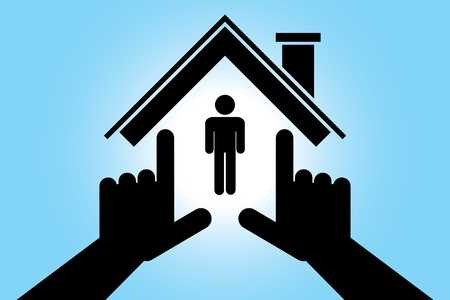 Hands making house shape  Stock Vector - 12964151