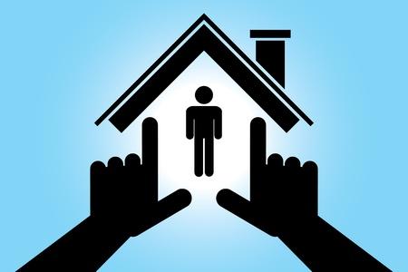 home care: Hands making house shape