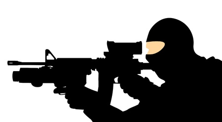 soldier with a gun Vector