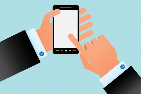 touchscreen smartphone in your hand Vector